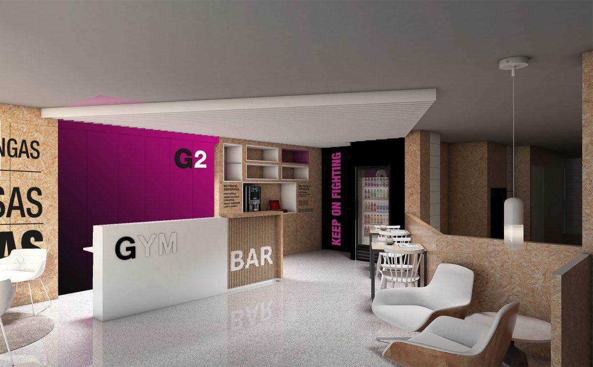 Recepcion Reception Desk GYM G2 Sport diseño por ROSA COLET INTERIOR DESIGN