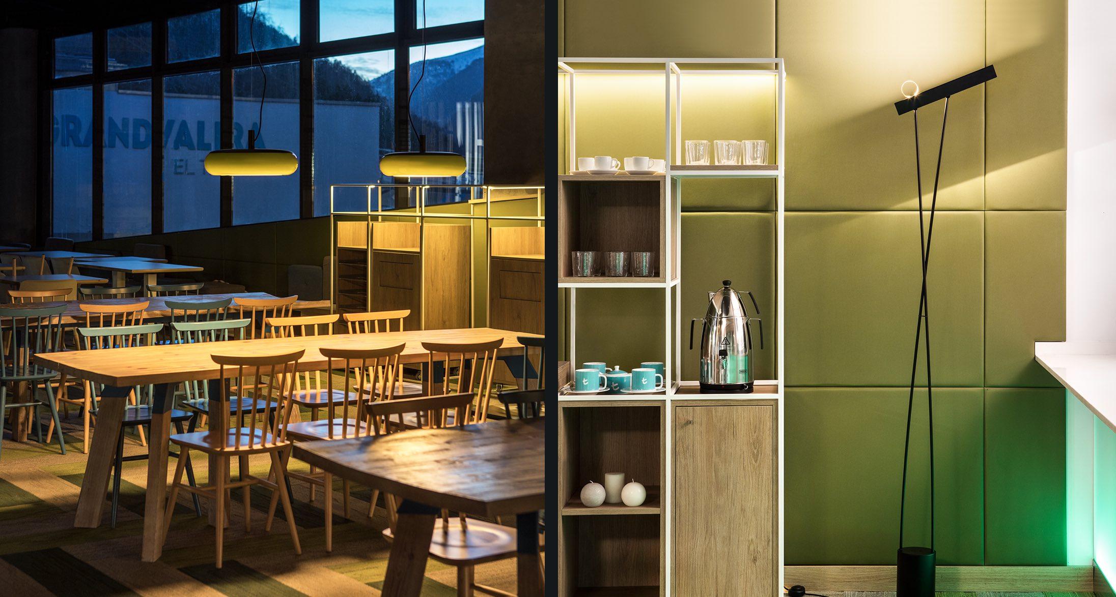 Cafeteria de l'Obac Grandvalira, diseño por Rosa Colet